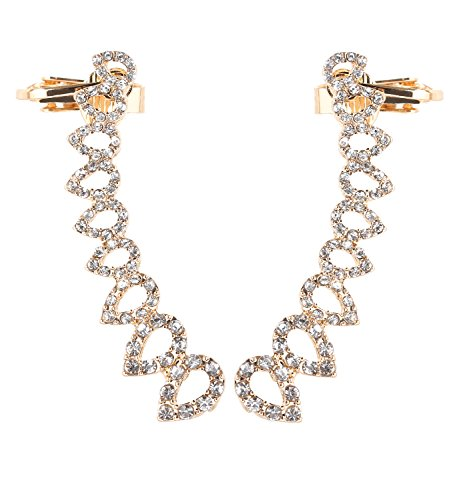 DaXi Graduated Crystal Waterdrop Crawlers Stud Climber Ear Cuffs Top Ear Clip Earrings (Gold Plated Rhinestone Earrings Clips)