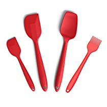 Silcony Set of 4 Pure Silicone Heat Resistant Spatulas, Spoon, Basting Pastry Brush (11-8.4)