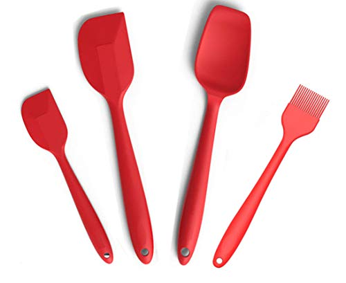 Silcony Set of 4 Pure Silicone Heat Resistant Spatulas, Spoon, Basting Pastry Brush (11