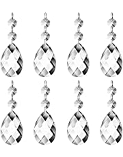 JaneYi (24 Pack) 38mm Teardrop Crystal Pendant Clear Crystal Glass Chandelier Prism Sun Catcher Parts Hanging Drops Pendant with Octagon Bead for Curtain Lamp Vase Garden Party Christmas Wedding Decor