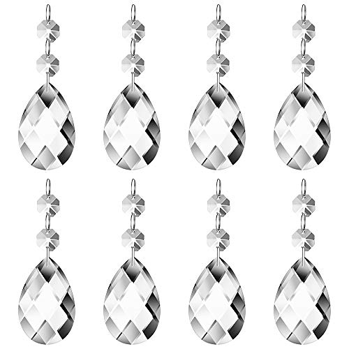 JaneYi (24 Pack) 38mm Teardrop Crystal Pendant Clear Crystal Glass Chandelier Prism Sun Catcher Parts Hanging Drops…