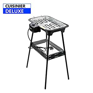 Cuisinier Deluxe Electric BBQ con pies de soporte y termostato ajustable Potencia de 2000 W Práctica y grande Barbacoa Parrilla mesa eléctrica pedestal de parrilla Placa de soporte extraíble 02822