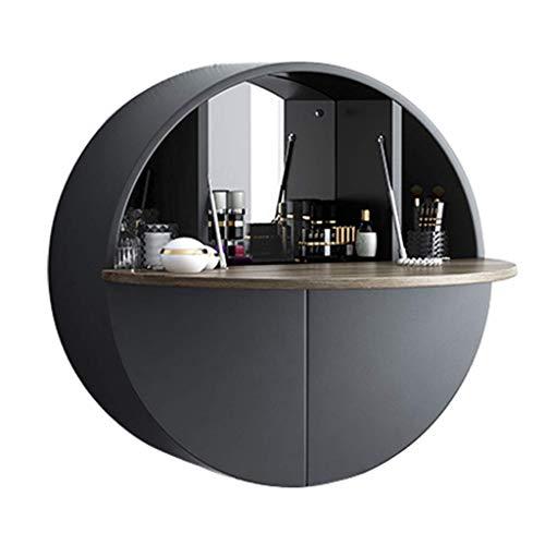 Giow Mesa montada en la Pared, multifuncion, comoda para el hogar, con area de Almacenamiento, Espejo de Maquillaje, para Dormitorio, Sala de Estar u Otros Lugares Que d