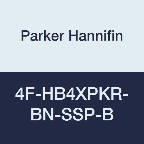 Parker Hannifin 4F-HB4XPKR-BN-SSP-B Series HB4X Stainless Steel 3-Way Ball Valve, PEEK–Polyetheretherketone Seat, Nitrile Rubber Seal, Blue Colored Handle, 1/4'' Female NPT Port