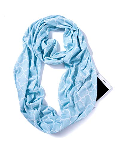 Elzama Infinity Loop Jersey Scarf with Hidden Zipper Pocket Printed Patterns for Women - Travel Wrap