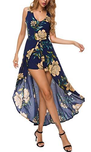 Maxi Scoop - KorMei Womens Sleeveless Scoop Neck Floral Rayon Party Split Maxi Romper Dress S Blue#4