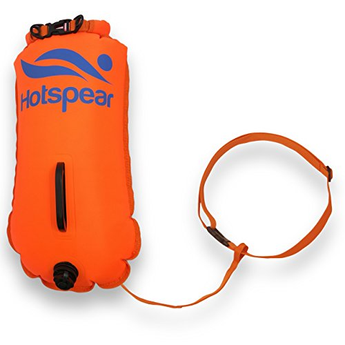 Swim Buoy Dry Bag HOTSPEAR for Open Water swimmers and Triathletes Swimming Tow Float Durable Nylon (Triple Air Chamber)