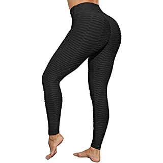 HURMES Women's High Waist Yoga Pants Scrunch Ruched Butt Lifting Workout Leggings Textured Tummy Control Slimming Booty Push Up Tights Black