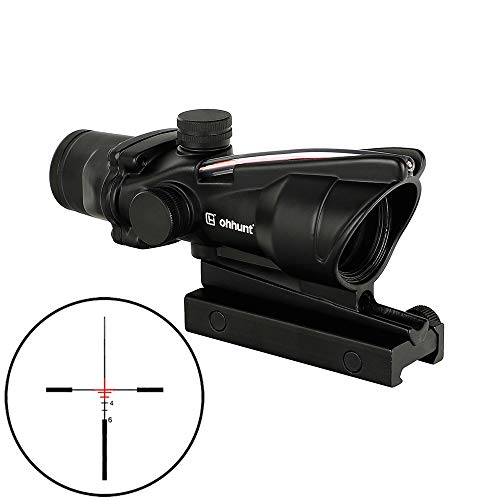ohhunt Real Fiber Optic Fiber Source Green or Red Illuminated 4x32 Tactical Rifle Scope (Red Illuminated)
