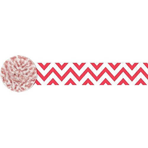 Amscan Party Perfect Chevron Printed Crepe Streamers Decorations, Apple Red and White, Crepe Paper, 81', 1 Roll