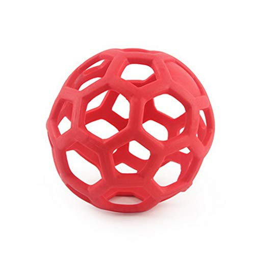 Funny Pets Toys, 135mm Geometric Hollow Ball Pet Dog Natural Rubber Ball Toy Chew Toy for Small Medium Large Dogs Red ()