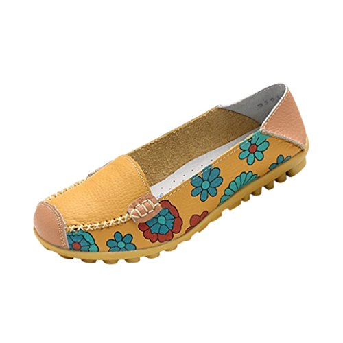 Color Casual Flower Printed Slip On Leather Flat Pumps Moccasins Dancing Shoes (Yellow 9 B (M) US) ()