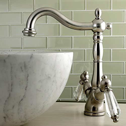 - Kingston Brass Vintage Crystal Vessel Bathroom Faucet satin nickel Nickel Finish