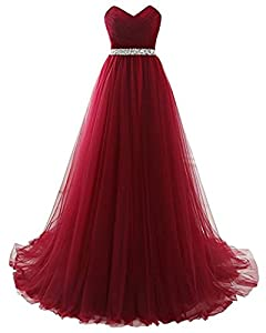 Henglizh Strapless Empire Waist Tulle Long Prom Evening Dresses Bridesmaid Party Gowns Hot Sale