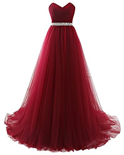 Women's Retro Pleated Sash Empire Waist Slim Mother's Wedding Maxi Dress Burgundy,Size 16 ()