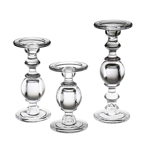 """SIGNALS Glass Pillar Candle Holders - Set of 3 Clear Solid Glass Baluster Candleholders for 3"""" Pillar Candles - Stands 7"""" H to 11"""" H"""