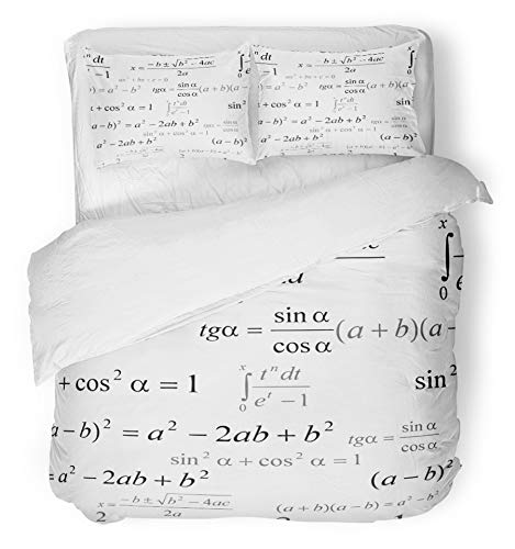 Emvency 3 Piece Duvet Cover Set Breathable Brushed Microfiber Fabric Formula Seamlessly Mathematics on White Algebra Research Black Classroom College Bedding with 2 Pillow Covers Full/Queen Size