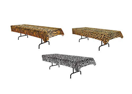 Safari or Jungle Animal Tablecover Bundle | Includes Zebra, Leopard, and Tiger Tablecovers -