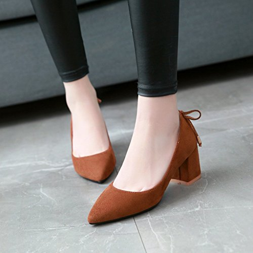 Carolbar Womens Pointed Toe Bowknots Office Lady Mid Heel Pumps Shoes Yellow-brown DLJAAyV7Bw