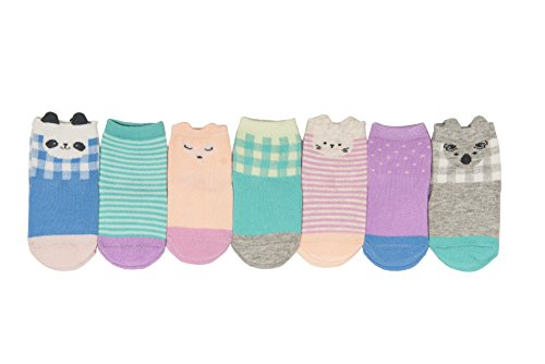 - OshKosh B'Gosh Baby Girls Crew Socks (7 Pack), Days of The Week/Animals Green, 3-12 Months