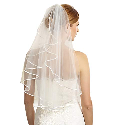 Bridal Veil Women's Simple Tulle Short Wedding Veil Ribbon Edge With Comb for Wedding Bachelorette Party (Ivory)