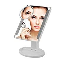 "Touch Desktop LED Makeup Mirror - Cordless Freely-Rotating Double Sided Lighted Make up Vanity Mirror with 1x/10x Magnification,38 Bright LEDs, 11"" Big screen"