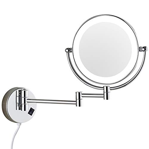 DOWRY Wall mounted LED Lighted Vanity Makeup Mirror with 10x magnification,Double-Sided, On/oFF button Chrome Finish and 8 Inch 360 Swivel 03D-10x