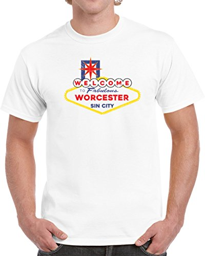 Sign City Worcester (Welcome To Worcester Sin City Funny Las Vegas Sign Parody Vintage Look Unisex T-shirt M White)