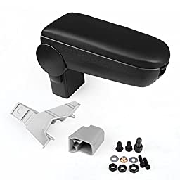 Astra Depot Black Leather Console Center Armrest for Volkswagen Golf Jetta Bora MK4 GTI R32 1999 2000 2001 2002 2003 2004 Latch Cover Padding