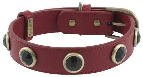 Faceted Onyx Red Leather Dog Collar - Extra Large