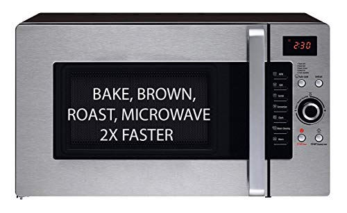3 in 1 Oven: Half Time Convection Microwave Oven, Bake, Brown, Roast in Half the Time, Countertop Stainless Steel/Black. 2 Year Manufacturer