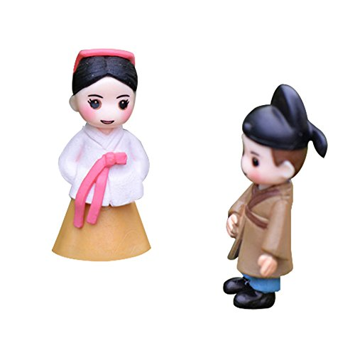 LAMEIDA Miniature Fairy Garden Lovely Couple Doll in Korean Costume Ornament Dollhouse Plant Pot Figurine DIY Craft for Garden Outdoor Home Decor 1 Pair -