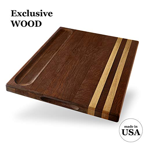 Premium Large Walnut Cutting Board by V&B - 17x13x1.1 American Hardwood Chopping and Serving Boards for Kitchen, E-book Gift