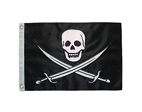 In the Breeze Calico Jack Applique Grommeted Boat Flag, 12 by 18-Inch