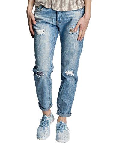 jeans Blu Donna Jeans Rock Larghi Charlotta Angel q4F0v0