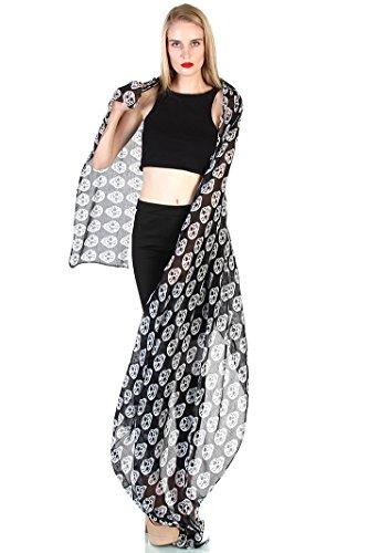 Halloween Custumes (Love Melrose Women's Halloween Custume Long SKULL SCARF BLACK & WHITE)