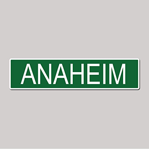 ANAHEIM City Pride Green Vinyl on White - 4X17 Aluminum Street Sign]()