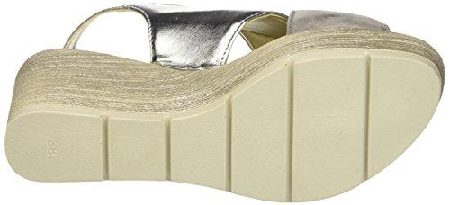 INBLU CH000020, Sandalias de Cuña Mujer Plateado (Cromo)