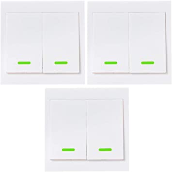 eWeLink 433MHz Interruptor de Luz de Pared, 86 Tipo, 2 Gang, Panel de Interruptor de Encendido / Apagado, con Botón Pulsador, Transmisor de Control Remoto Inalámbrico RF, con Pegatina, 3PCS: Amazon.es: Electrónica