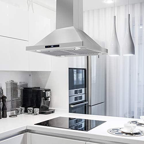 Cosmo 760 CFM campana extractora de acero inoxidable con pantalla táctil, campana de ventilación de cocina con filtros permanentes e iluminación LED: Amazon.es: Grandes electrodomésticos