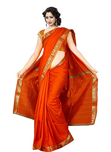 KoC Indian Traditional Ethnic Women wear Art Silk Saree -Orange