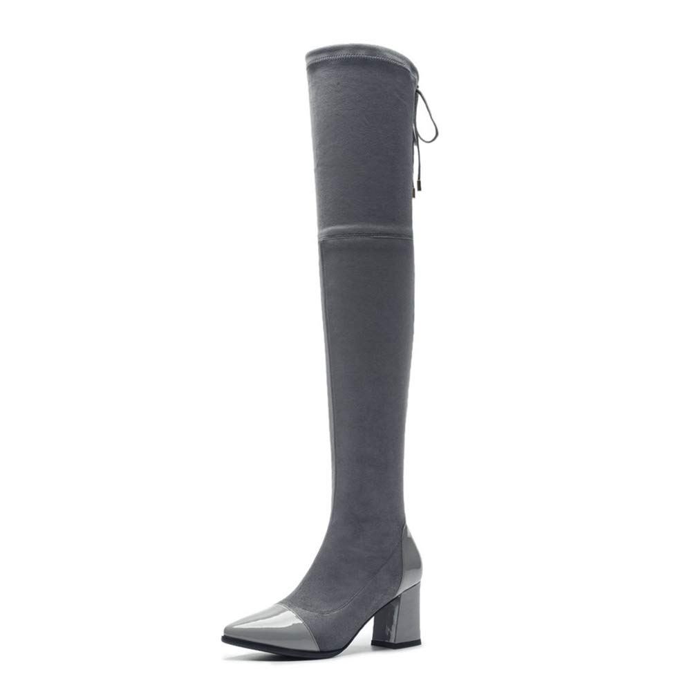 ec05f0f25cfcc Amazon.com | OHAYOU Women's Over-The-Knee Boots Square High Heels ...
