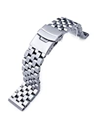 22mm SUPER Engineer II Solid SS Straight End Metal Watch Band, Sandblasted