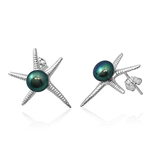 PearlsNSilver Starfish Necklace 14K Over Sterling Silver Cultured Pearl (Earrings (Pearl Starfish Earrings)