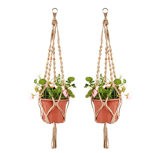 Accmor Plant Hanger 4 Legs 3.3 ft with Beads and Ring, Strong Handmade Jute Indoor Outdoor Patio Deck Ceiling Plant Holder for Round Square Pots, Retro Feeling Unmatched Finesse for Mother(2 Pack)
