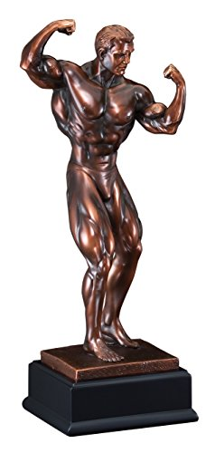 - Awards and Gifts R Us Customizable 11 Inch Male Body Builder Antique Bronze Electroplated Trophy, Includes Personalization