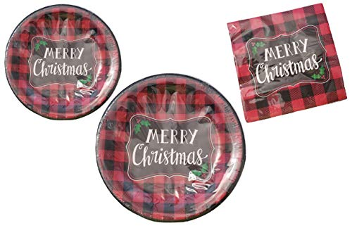 """Red & Black Buffalo Plaid Checker""""Merry Christmas"""" Disposable Paper Plates and Party Napkins Bundle – 3 Items: 20 Dinner Plates, 20 Dessert Plates, 50 Large Napkins"""