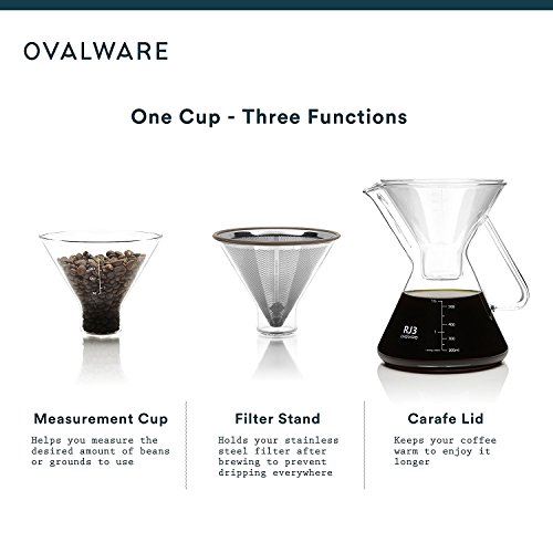 Pour Over Coffee Maker with Paperless Filter - Premium Carafe Brew Set with Stainless Steel Dripper, Precision Measuring Cup - Pourover Brewing For The Home Brewer – 0.5L / 17oz by ovalware (Image #1)