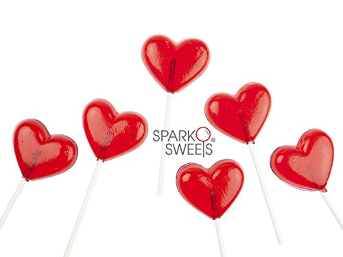 Red Heart Lollipops, Handcrafted Fresh in USA, 24 Pcs, Strawberry Flavor - Red Heart Lollipops