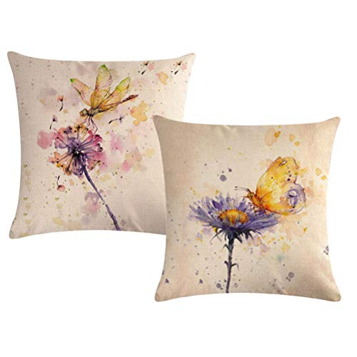 - Watercolor Painting Throw Pillow Covers Butterfly Dragonfly Dandelion Pattern Pillow Covers Home Decorative Square Pillowcase 18